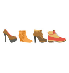 Female shoes on high heel firm platform and flat vector