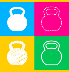fitness dumbbell sign four styles of icon on four vector image