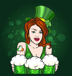 girl with green beer saint patricks day emblem vector image