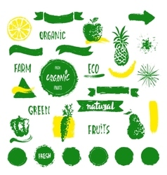 Han drawn farm fresh organic food label badge or vector