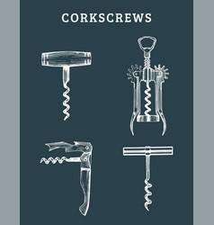 Hand drawn corkscrews set retro vector