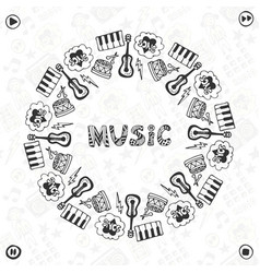 Hand drawn music frame musical sketch icons vector