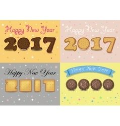 Happy new year 2017 cookies font vector