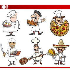 international cuisine chefs cartoons vector image