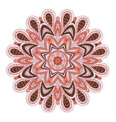 Mandala flower doodle drawing round ornament pink vector