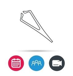Medical tweezers icon cosmetic equipment sign vector