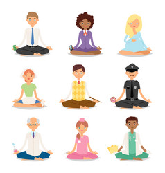 meditation yoga people relaxation procedure vector image