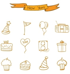New year icons collection stock vector