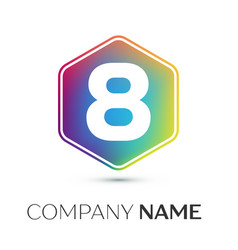 number eight logo symbol in the colorful hexagonal vector image