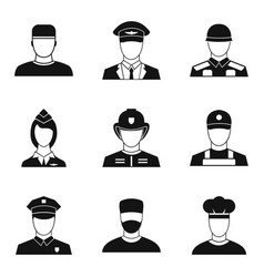 officer icons set simple style vector image vector image