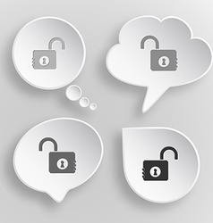 Opened lock white flat buttons on gray background vector