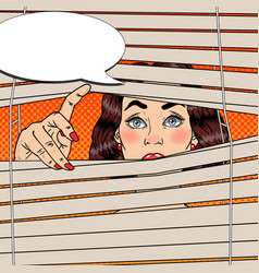 pop art shocked woman looking through the blinds vector image