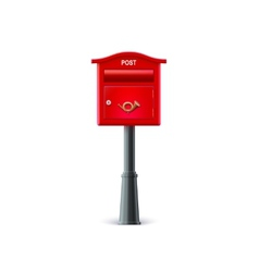 Red mailbox on the post vector image vector image