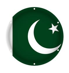 Round metallic flag of pakistan with screw holes vector