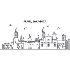 Spain zaragoza architecture line skyline vector
