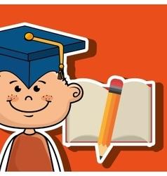 student boy notebook pencil vector image