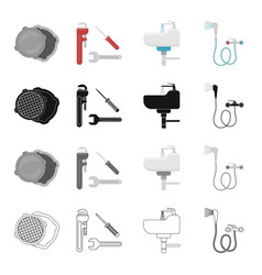 tools equipment plumbing and other web icon in vector image