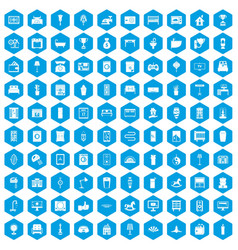 100 interior icons set blue vector
