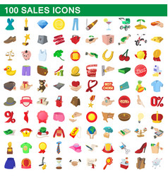 100 sales icons set cartoon style vector
