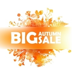 Autumn big sale - watercolor banner with orange vector