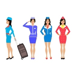 Set beautiful stewardess Air hostess in uniform vector image