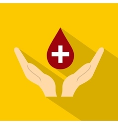 Hands holding blood drop icon flat style vector
