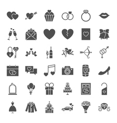 Wedding solid web icons vector