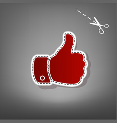 Hand sign   red icon with for vector