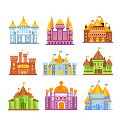 Fairy tale castles and fortresses collection of vector