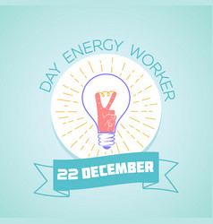 22 december day energy worker vector