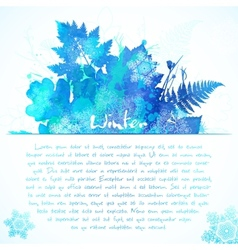 Blue watercolor painted winter leaves greeting vector
