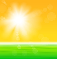 Background with shiny sun over the field vector