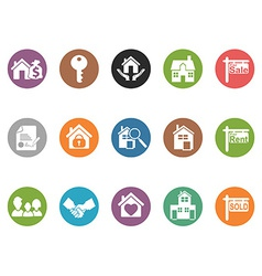 Real estate button icons vector