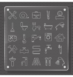 Plumbing icons flat design vector