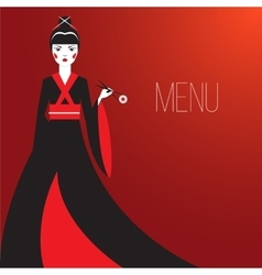 Oriantal femme fatale in a long black kimono with vector