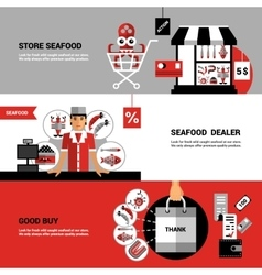 Sale of seafood horizontal banners vector