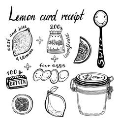 Lemon curd receipt  hand vector