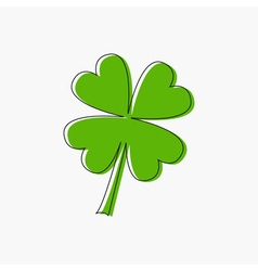 Clover leaf four petal green clover black line vector