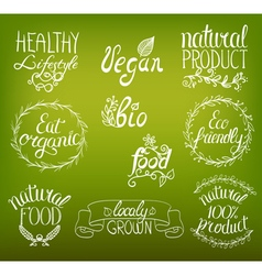 Natural food hand written vector