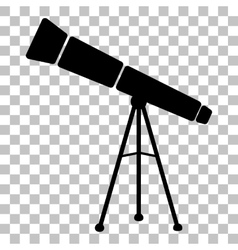 Telescope simple sign Flat style black icon on vector image