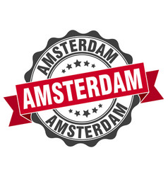 Amsterdam round ribbon seal vector
