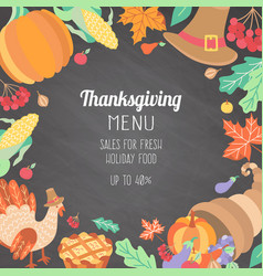 Banner poster flyer with thanksgiving symbols vector