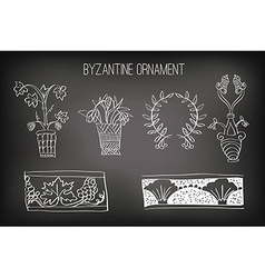 Byzantine ornament painted white chalk vector