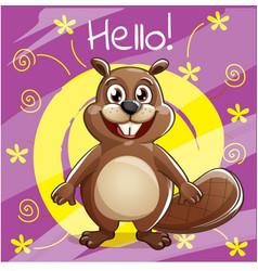Cartoon beaver hello vector