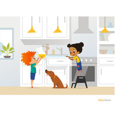 children cooking food in kitchen red head boy vector image