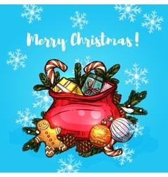 Christmas gifts in santa bag greeting card design vector