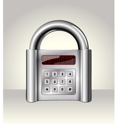 Closed padlock with digital interface vector image vector image