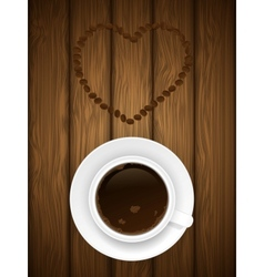 Coffe cup on wooden background vector image