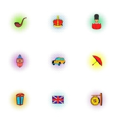 Country united kingdom icons set pop-art style vector