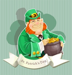 Cute big fat Leprechauns guard the pot of gold vector image vector image